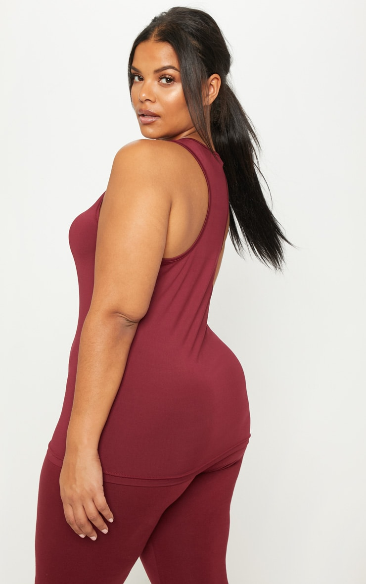 PRETTYLITTLETHING Plus Burgundy Embroidered Vest Top 2