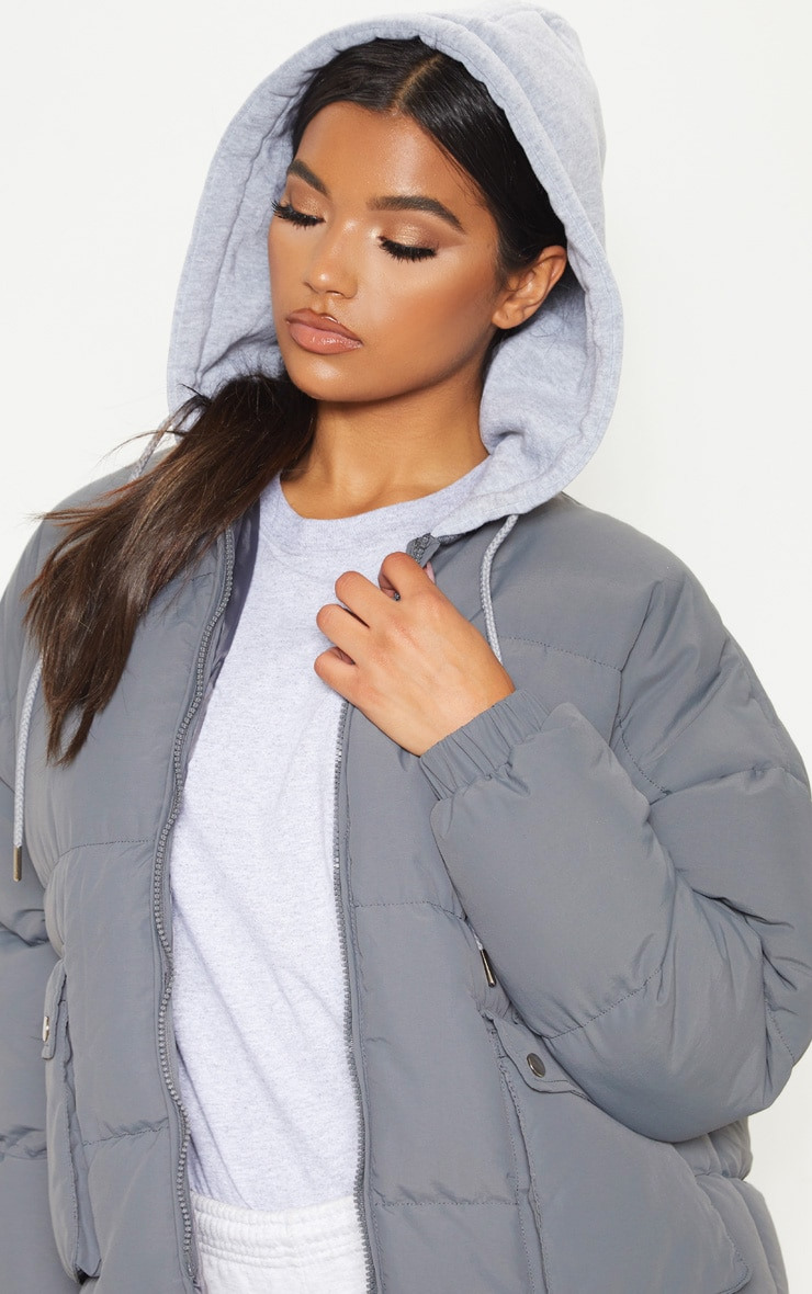 Charcoal Peach Skin Oversized Hooded Puffer 5
