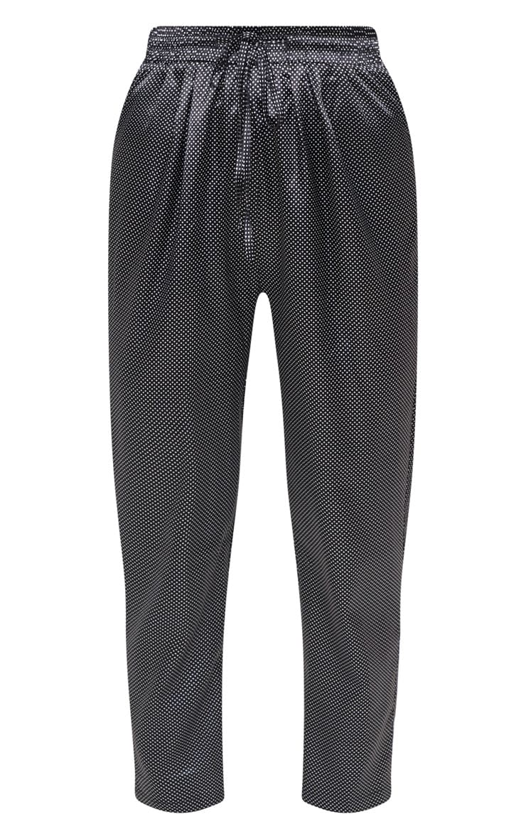 Black Satin Polka Dot Cigarette Pants 3