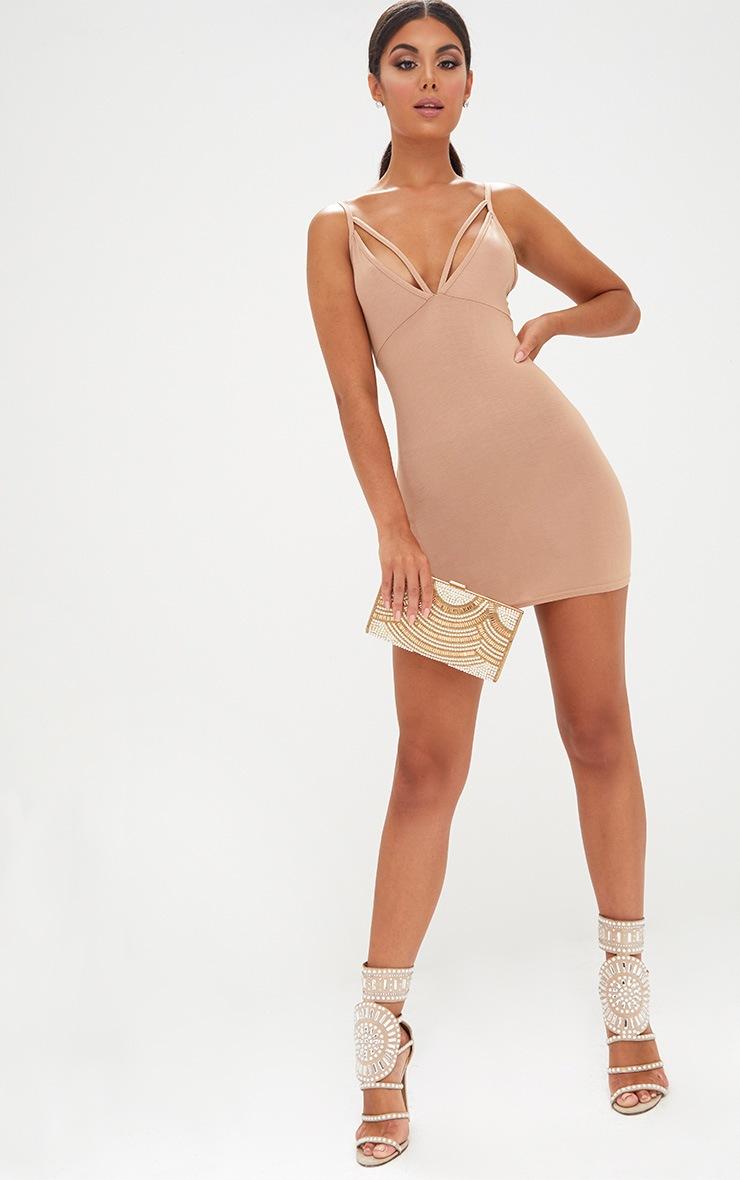 Camel Strap Detail Bodycon Dress 4