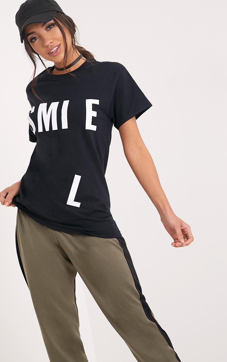 SMILE Slogan Black Printed Back T Shirt 1