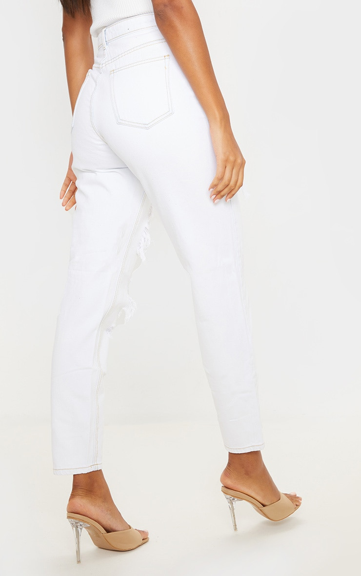 PRETTYLITTLETHING Bleach Wash Distressed Mom Jean 4