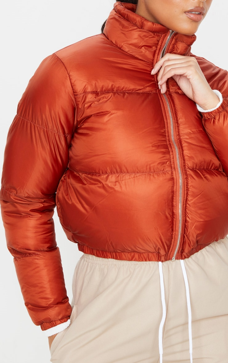 Rust Cropped Bubble Puffer Jacket 5