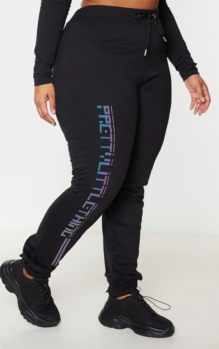 PRETTYLITTLETHING Plus Black Reflective Joggers 2