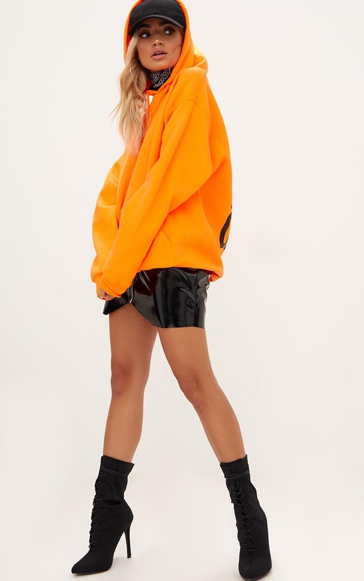 Orange I Don't Care Slogan Back Oversized Hoodie 5
