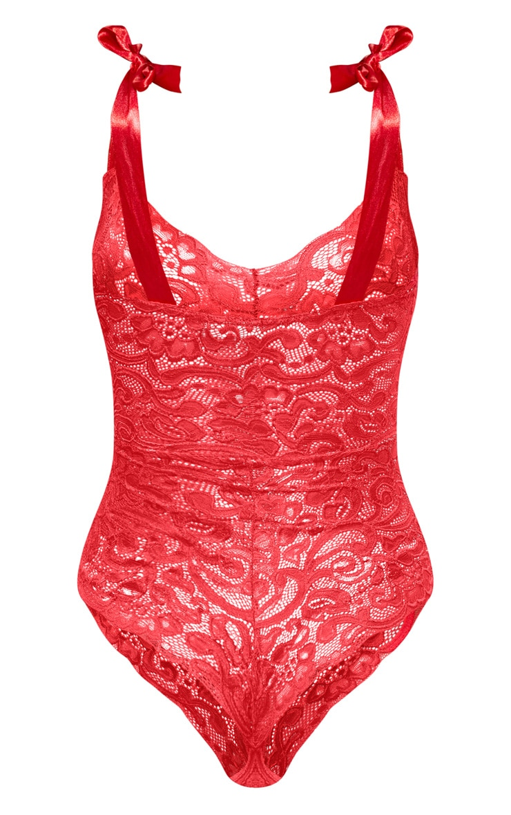 Red Tie Strap Lace Body 4