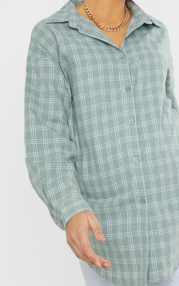 Maternity Washed Green Checked Oversized Shirt 4