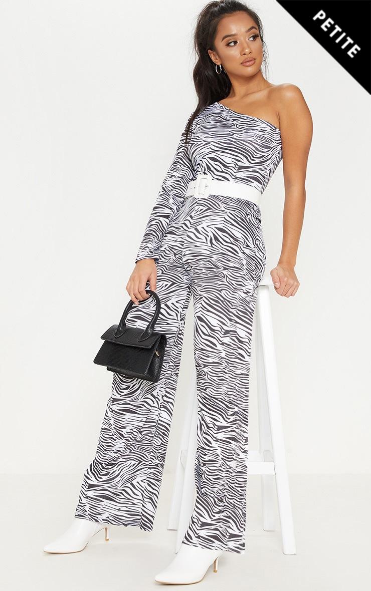 Petite White Zebra Print One Shoulder Jumpsuit