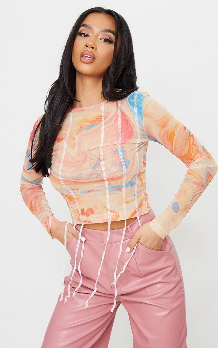 Petite Orange Tie Dye Contrast Seam Mesh long Sleeve Crop Top 1