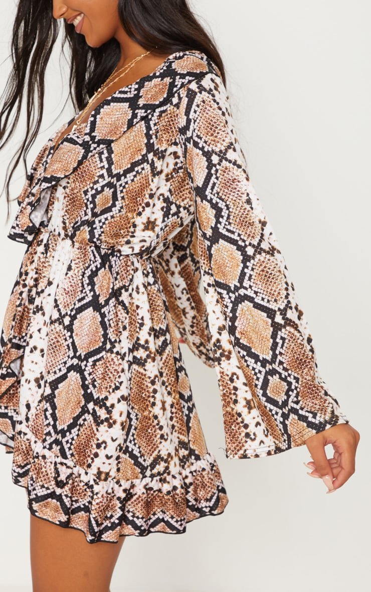 Snake Printed Jersey Frill Detail Flare Sleeve Wrap Dress 4
