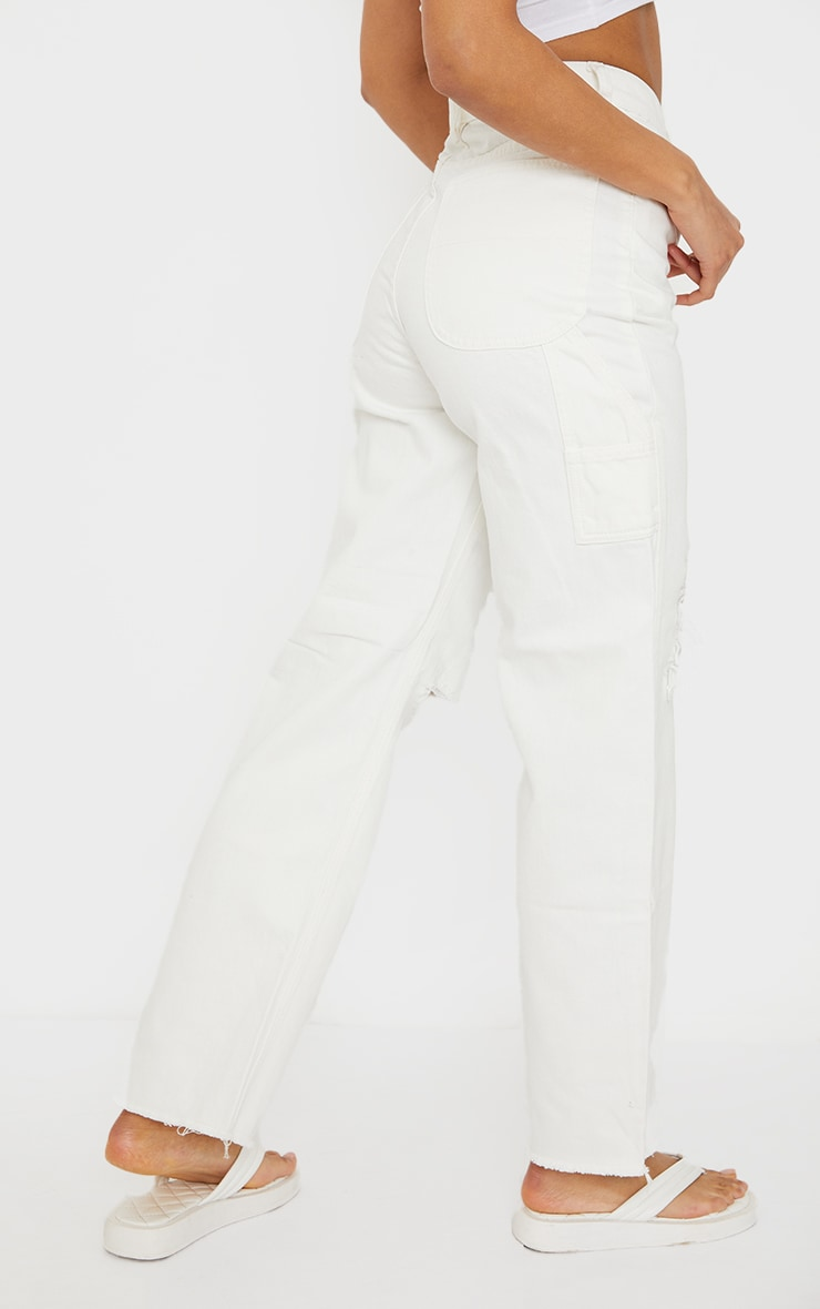 White Cargo Distressed Baggy Jeans 3