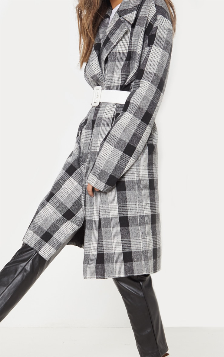 Grey Checked Oversized Coat  5