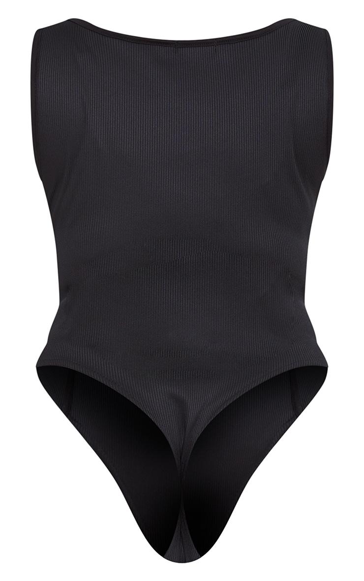 PLT Plus - Body côtelé noir à coutures contrastantes 6
