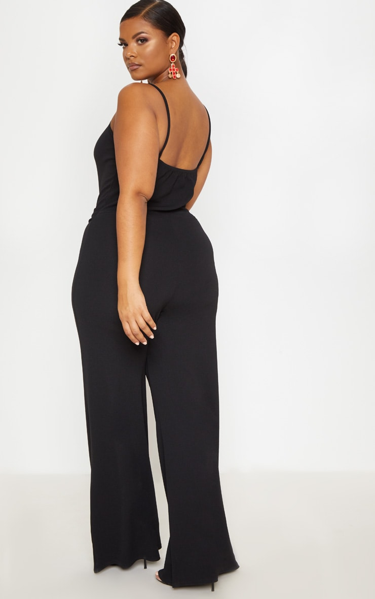 Plus Black Tortoise Shell Trim Detail Jumpsuit 2