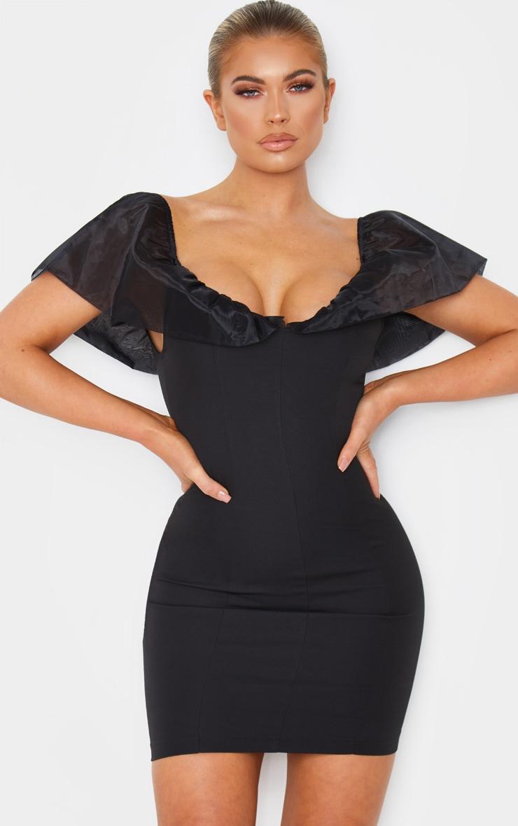Black Chiffon Shoulder Detail Bodycon Dress 1