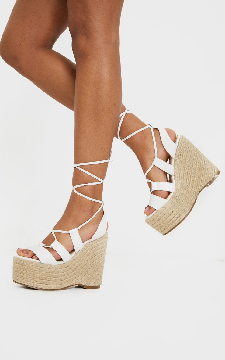 White Raffia Lace Up Wedge Heel 2