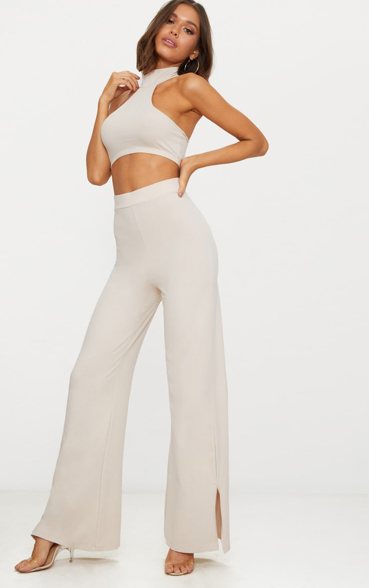 Cream Second Skin Flared Trousers 1