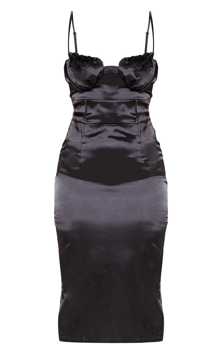 Petite Black Satin Frill Cup Detail Midi Dress 3