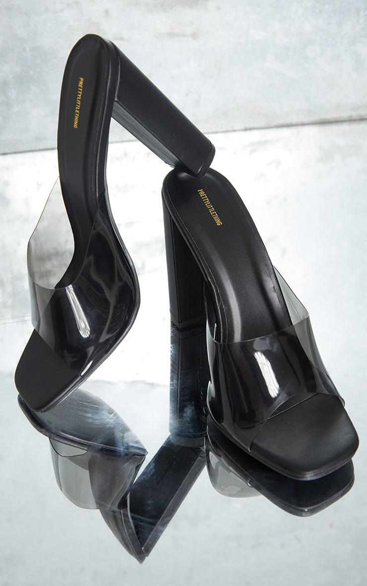 Black Clear Strap High Block Heel Mules image 4