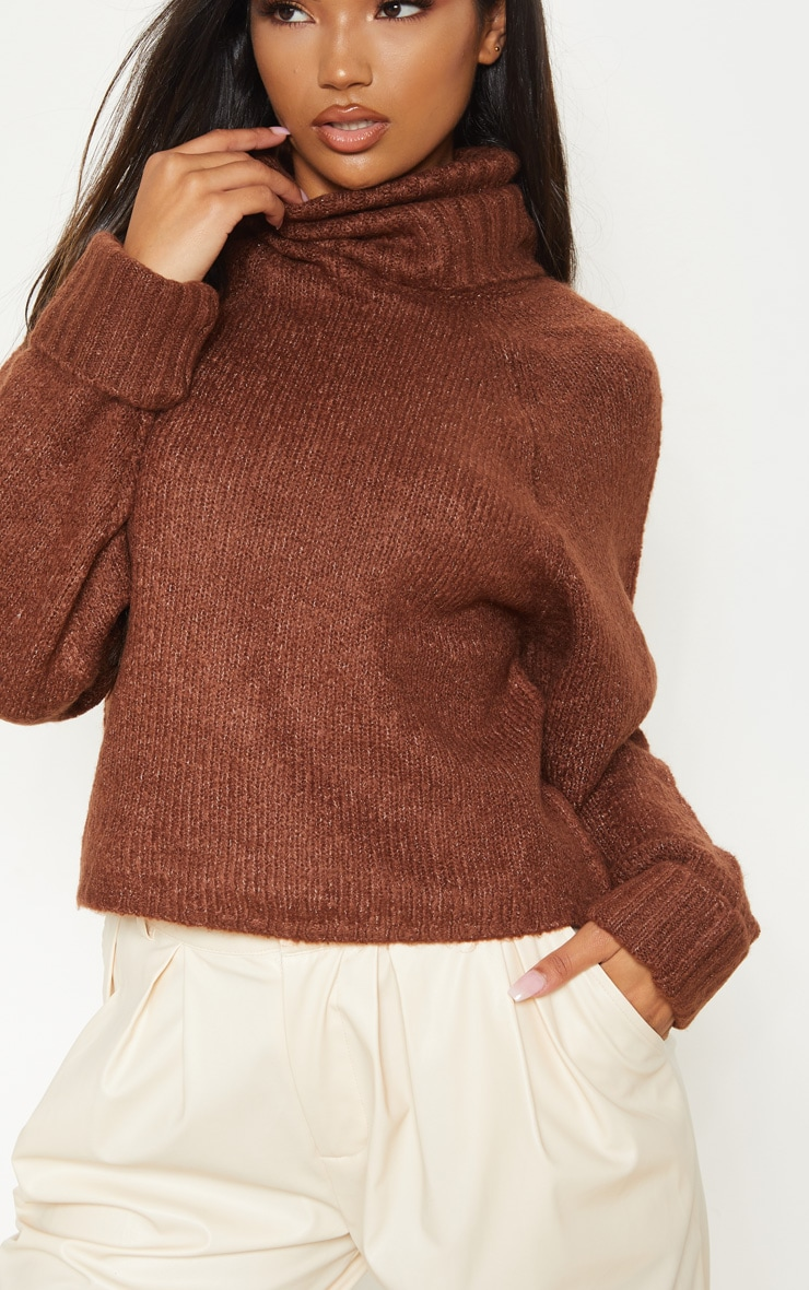 Brown Fluffy Chunky Roll Neck Jumper 5