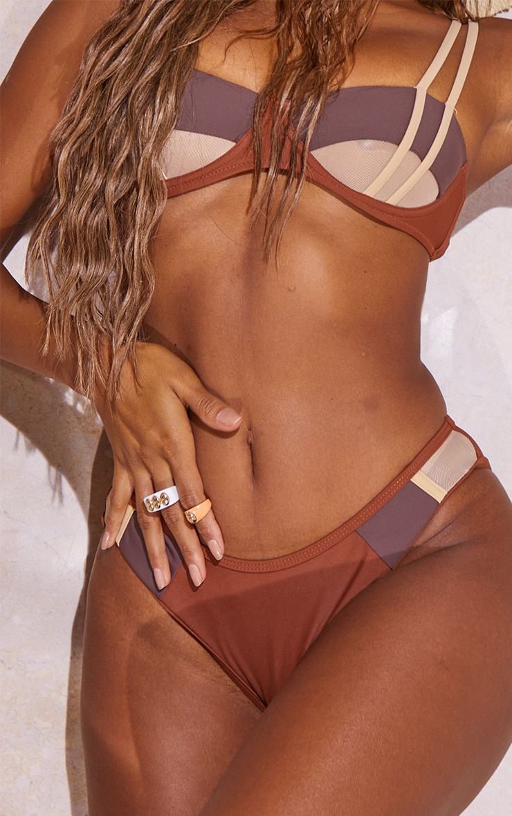 Brown Contrast High Leg Bikini Bottoms 4