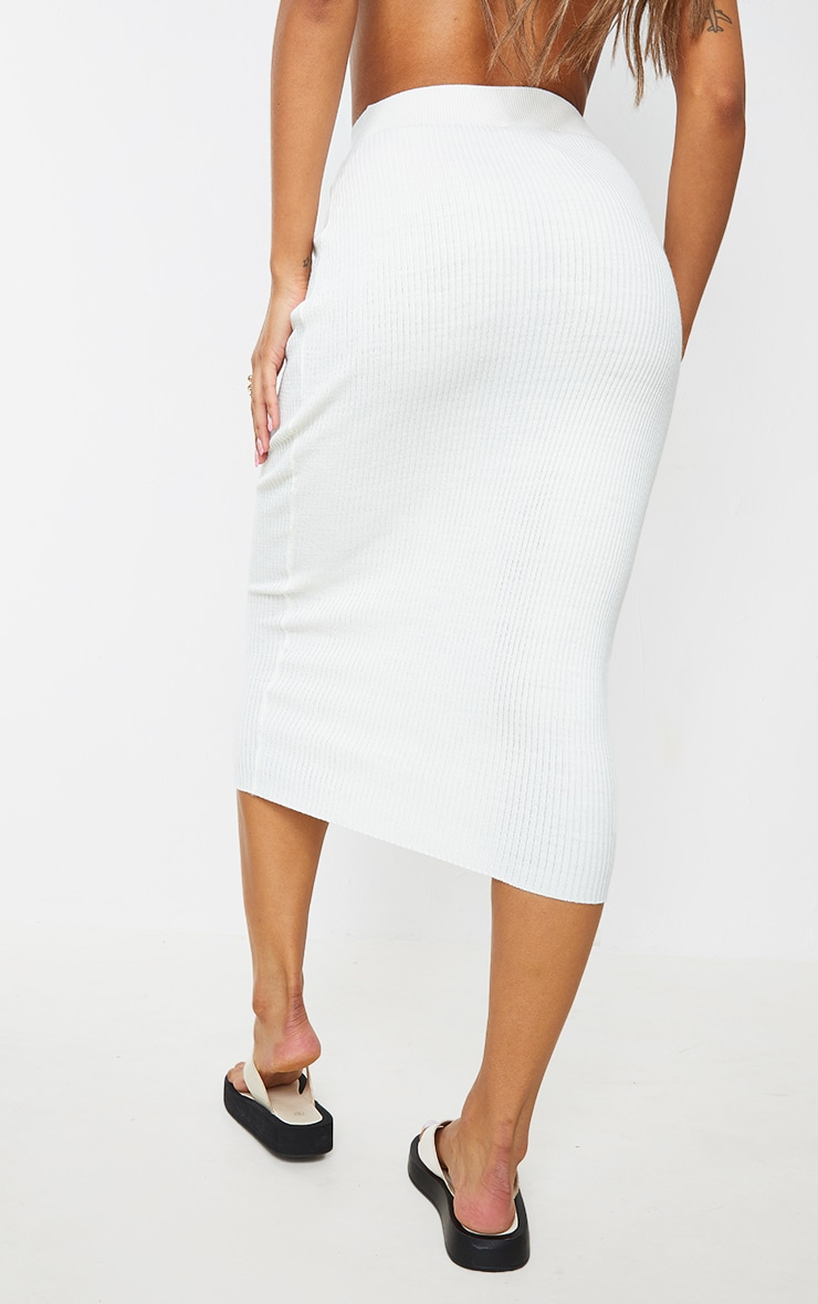 Cream Ribbed Knitted Midaxi Skirt 3