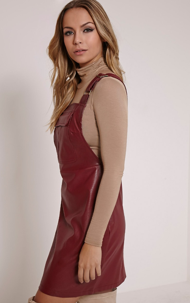 Myra Burgundy Faux Leather Pinafore Dress 3