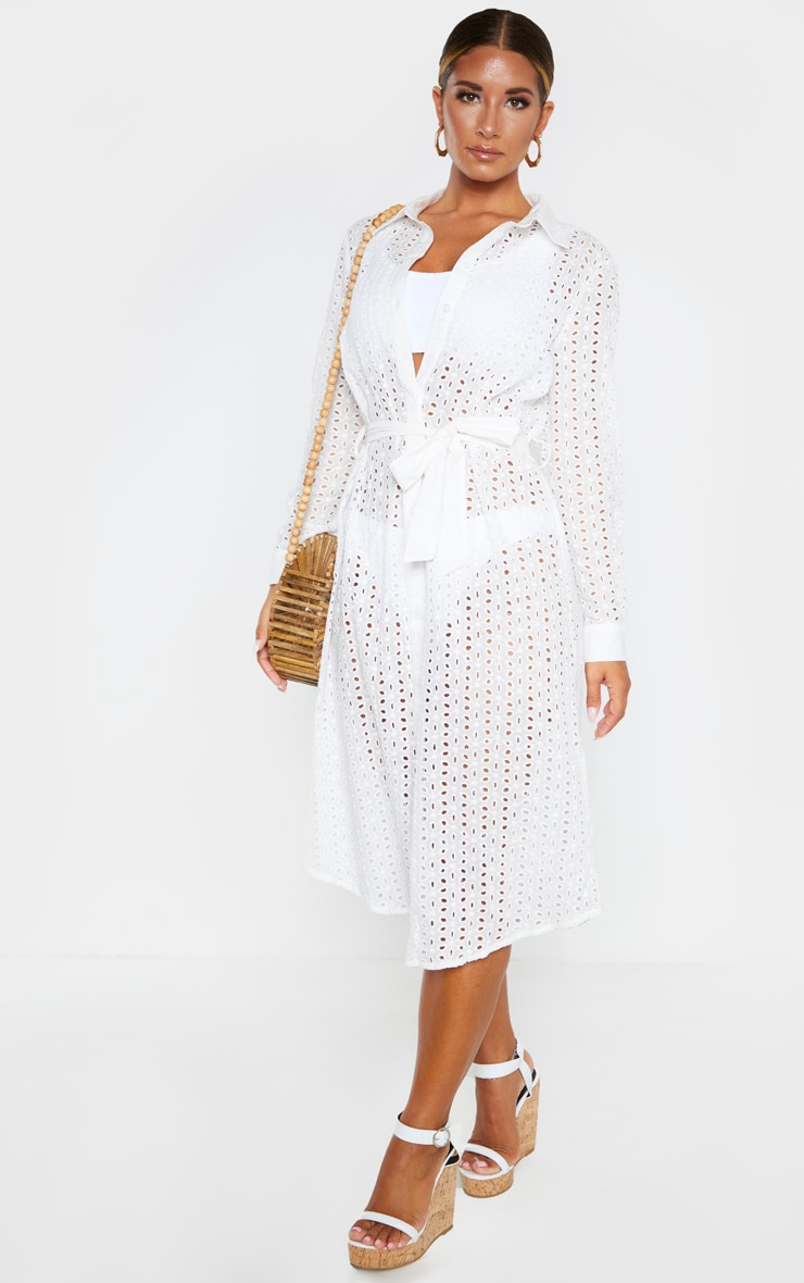 White Broderie Tie Waist Beach Dress 1