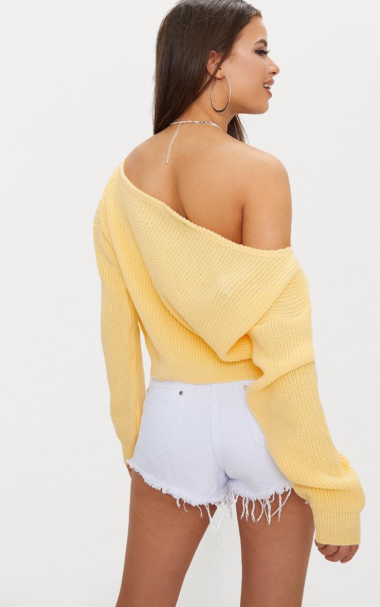 Lemon Off Shoulder Cropped Sweater 2