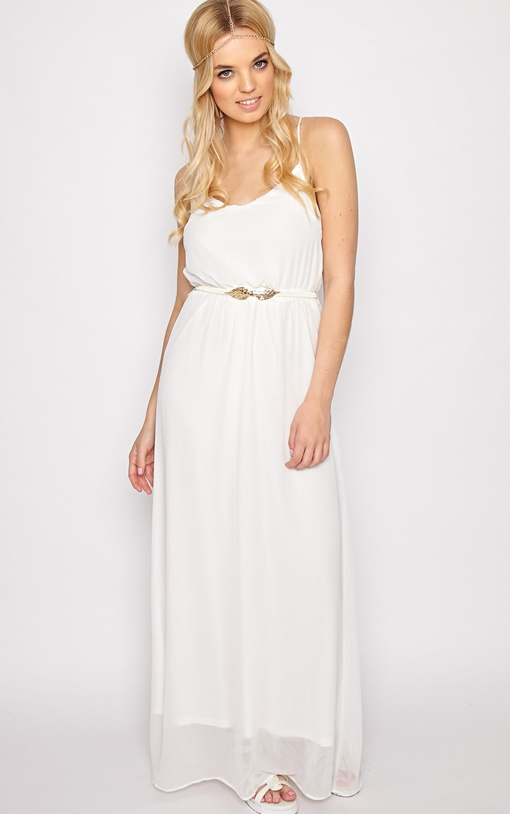 Verity White Chiffon Maxi Dress-M 3