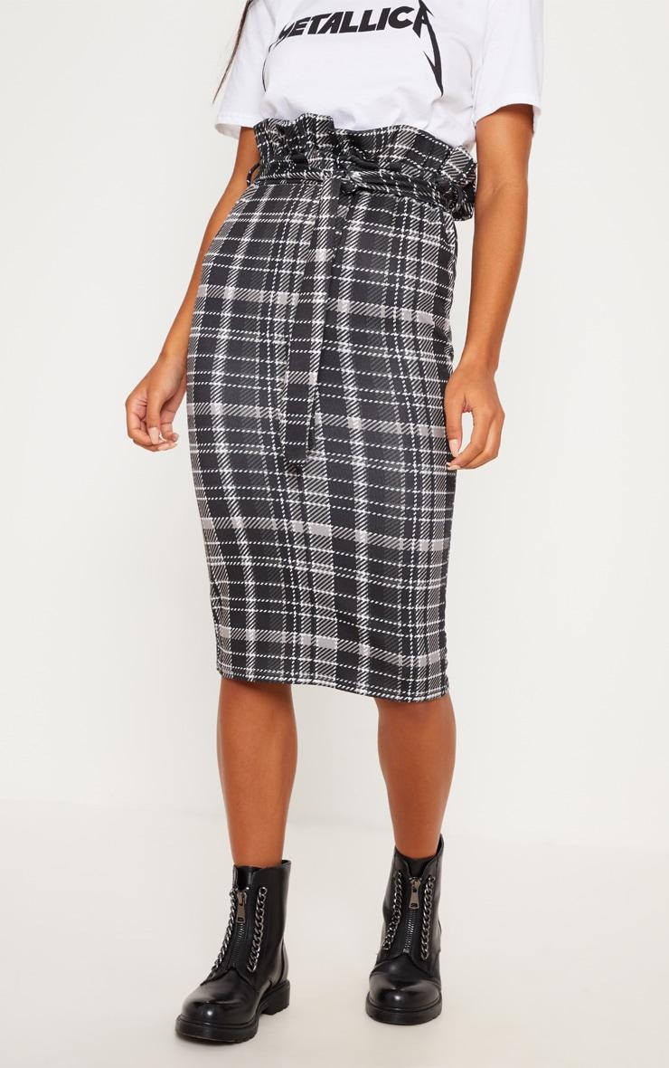 Black Check Paperbag Midi Skirt 2