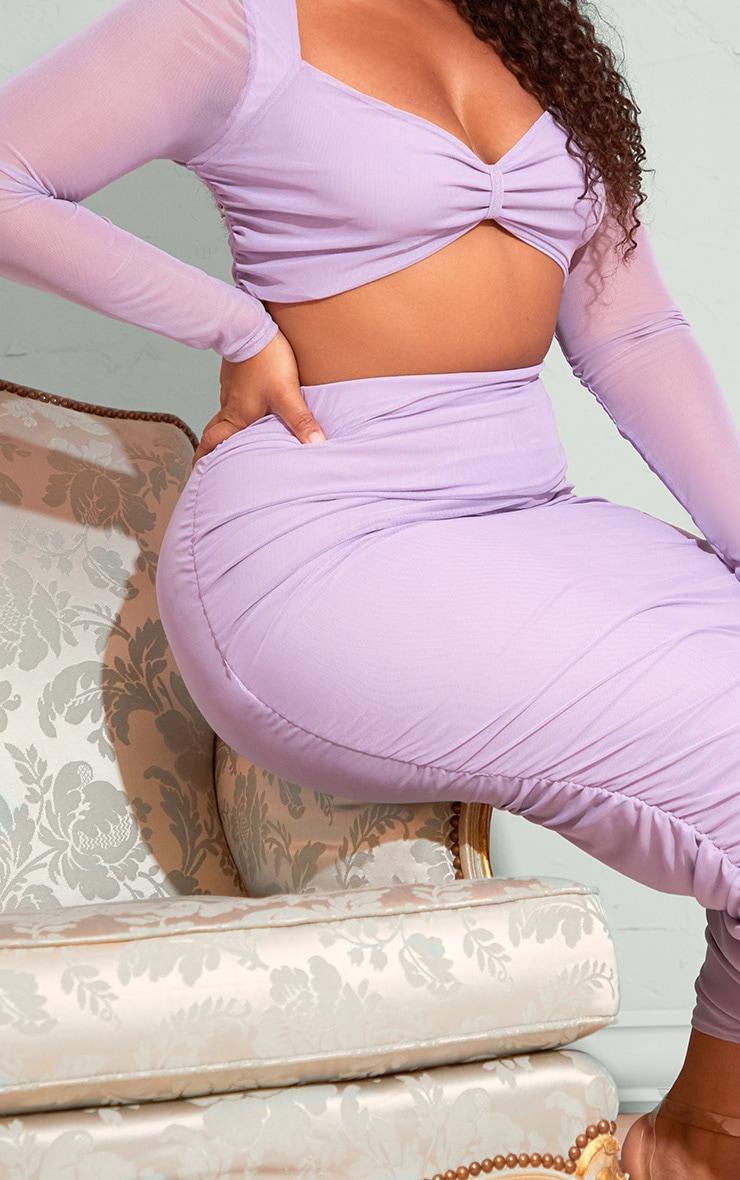 Plus Lilac Mesh Ruched Midi Skirt 4