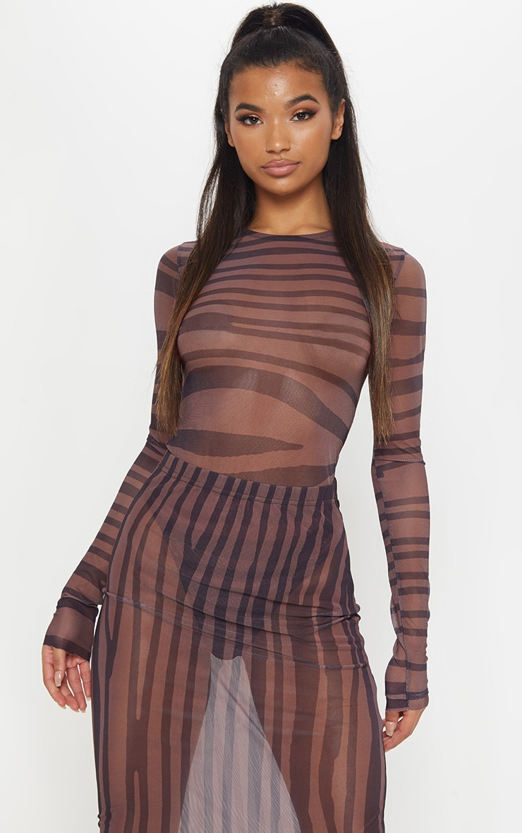 Brown Printed Mesh Long Sleeve Bodysuit 1
