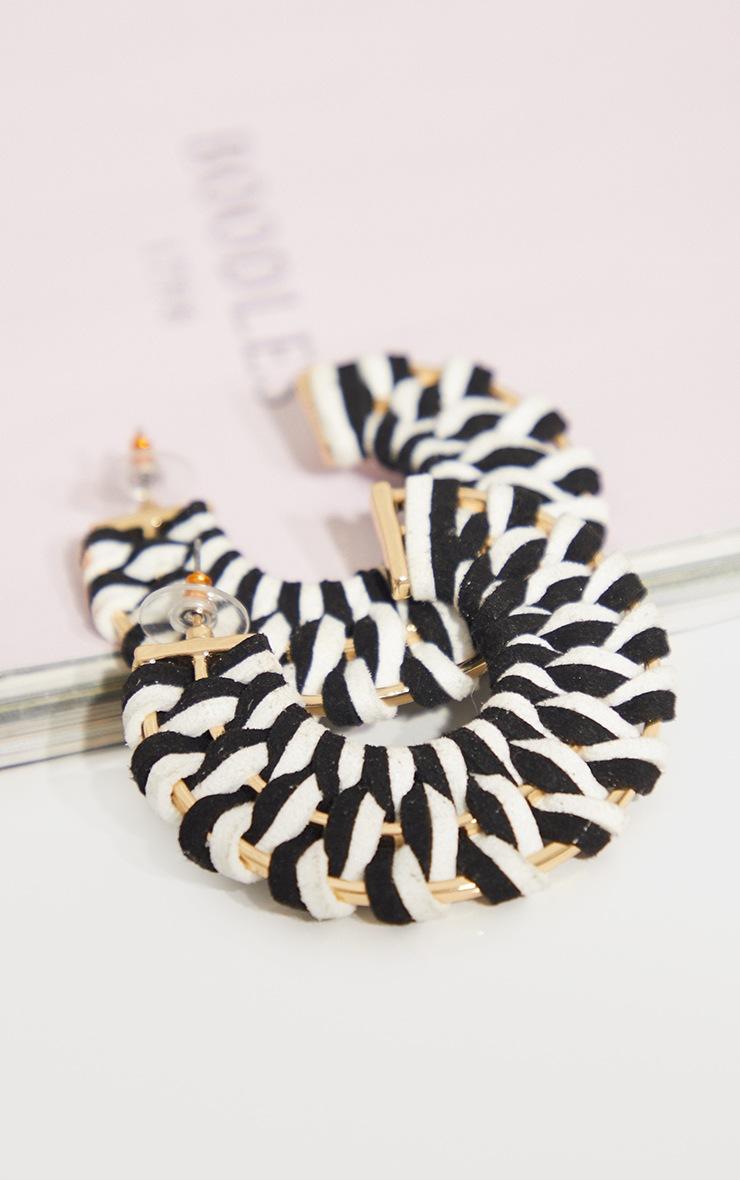 Monochrome Weave Chunky Hoop Earrings 2