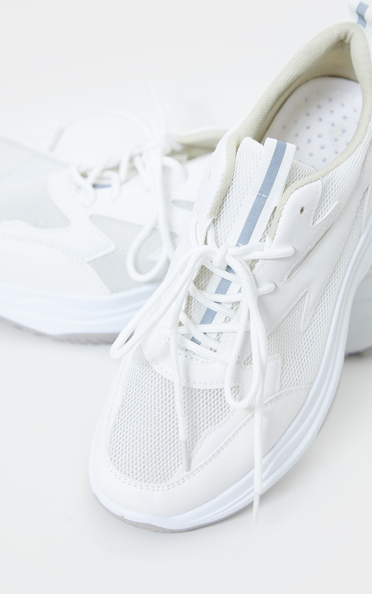 White Contrast Mesh Layered Sole Trainers 2