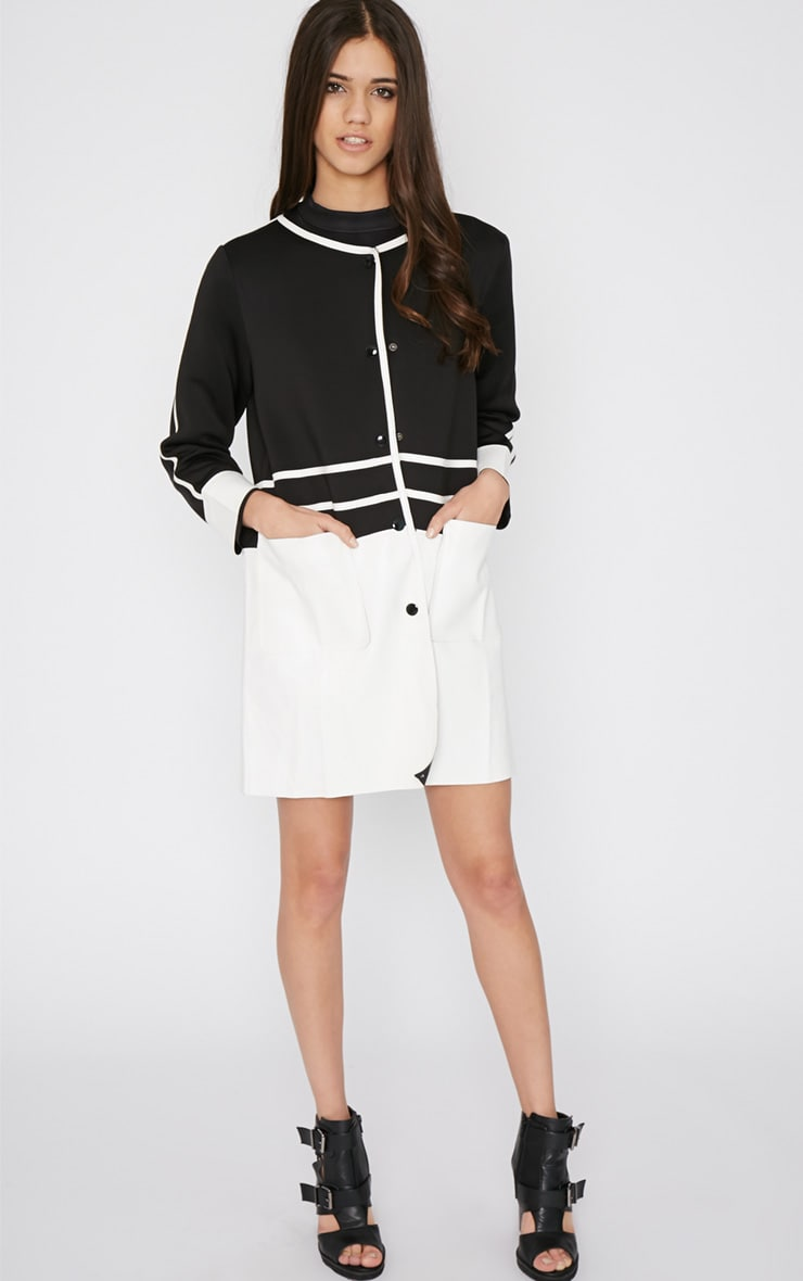 Sylvia Monochrome Leather Panel Coat  3