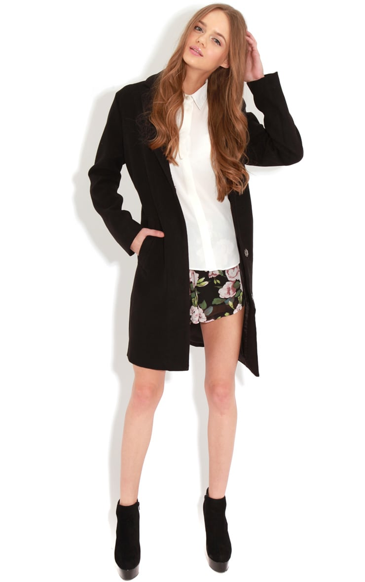 Avril Black Longline Boyfriend Coat  3