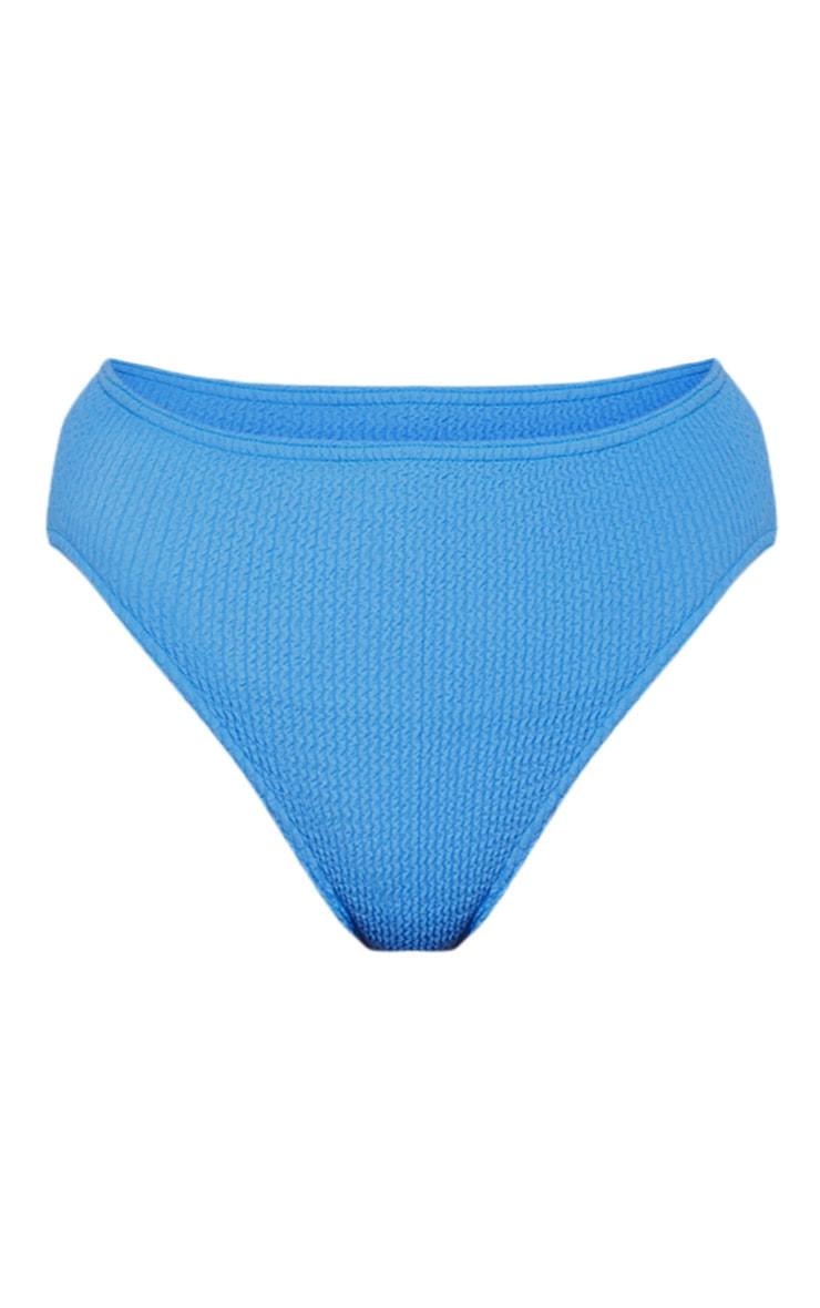 Bas de bikini bleu froncé à taille haute 3
