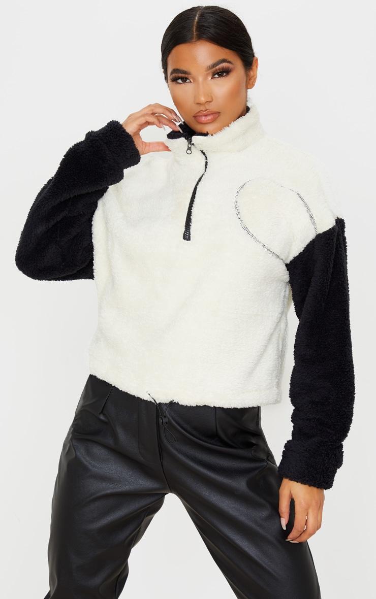 Black Borg Contrast Crop Zip Sweater 1