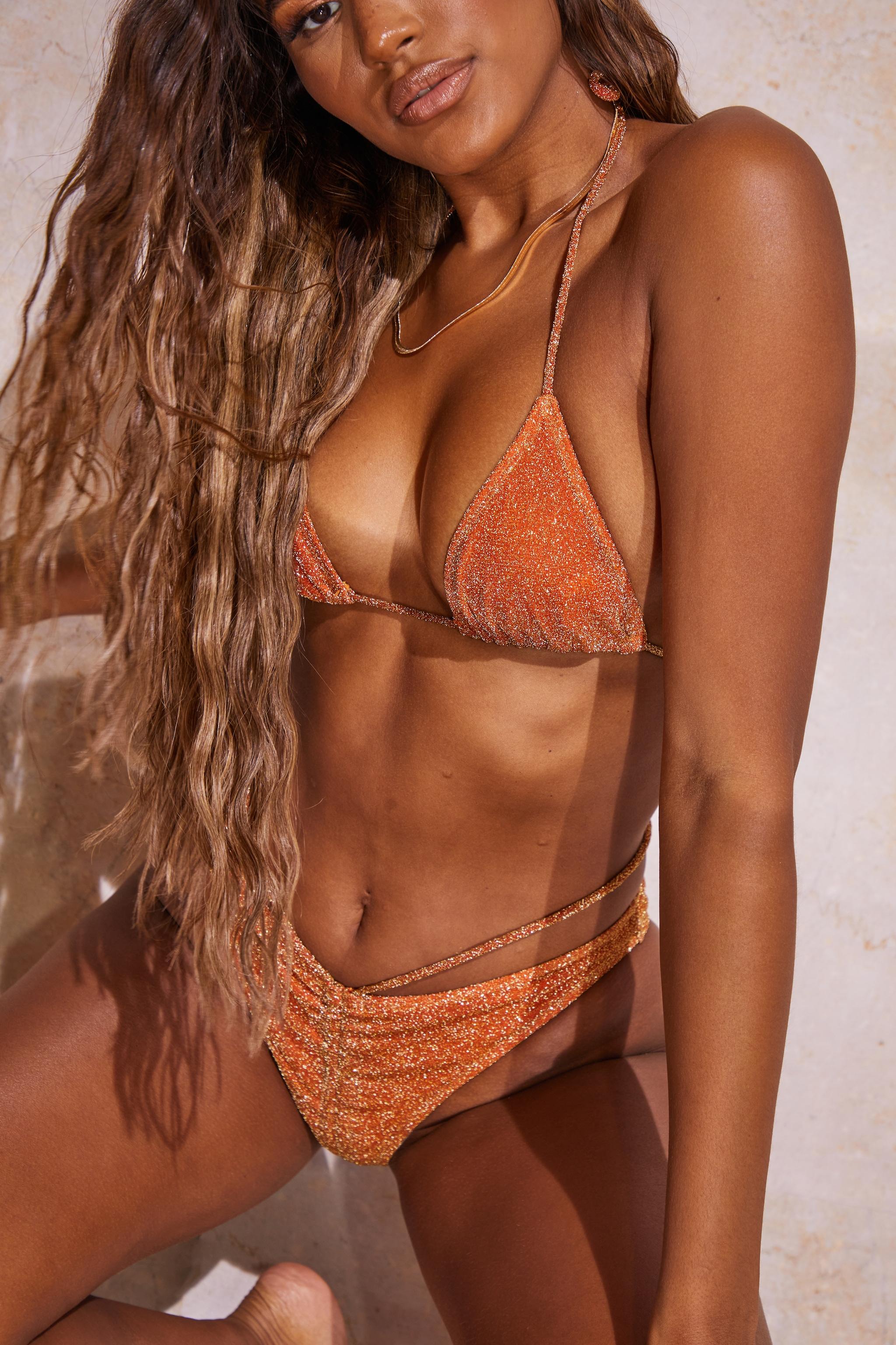 Orange Glitter Triangle Bikini Top 4