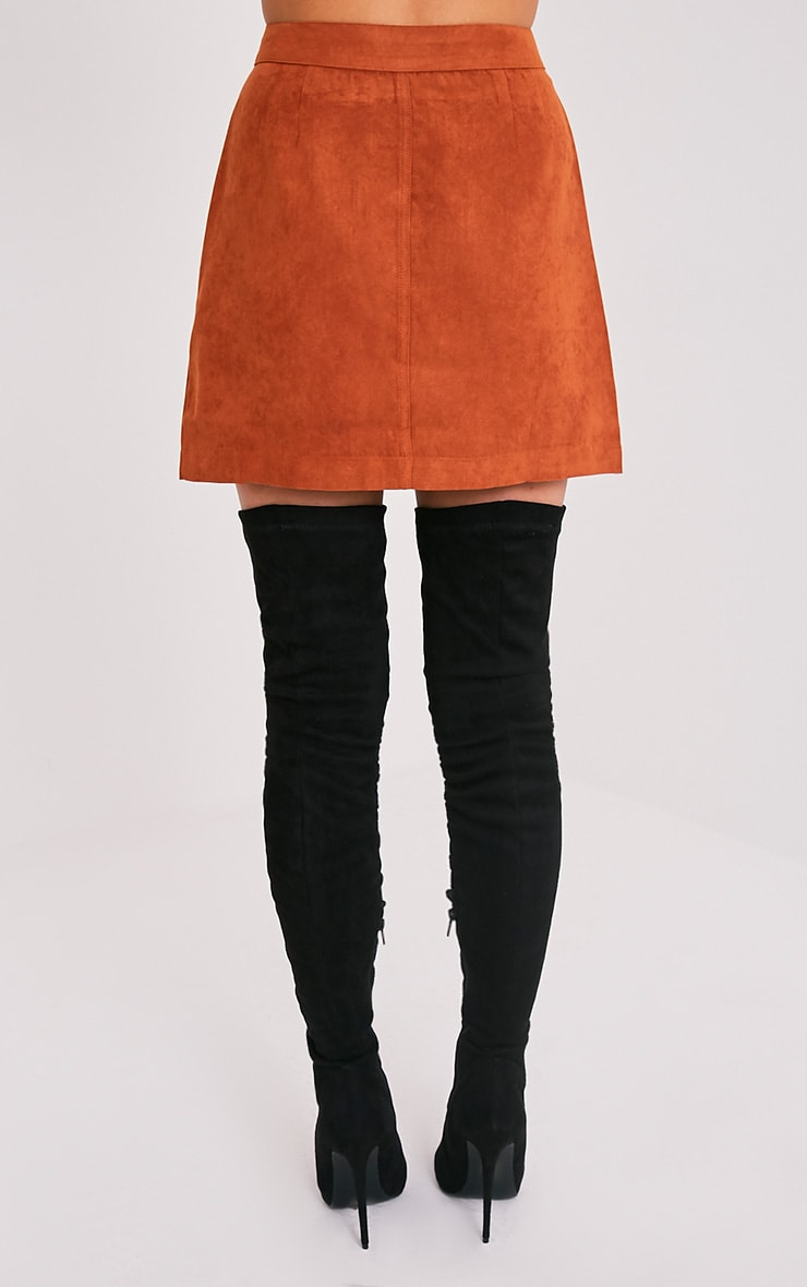 Carmelita Rust Suede Button Front Skirt 5