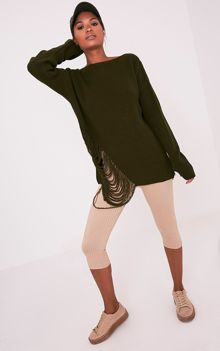 Aislinn Khaki Ladder Distress OverSized Jumper 1