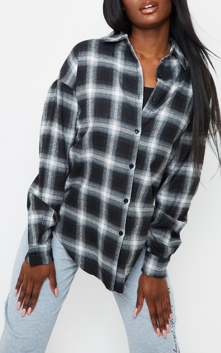 Tall Black Checked Oversized Shirt 4