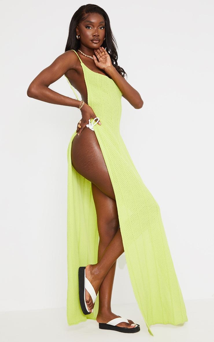 Tall - Robe longue en maille vert citron fendue sur les côtés à dos ouvert 3