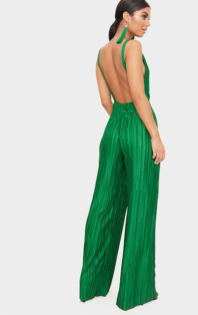Green Plisse Plunge Strappy Jumpsuit