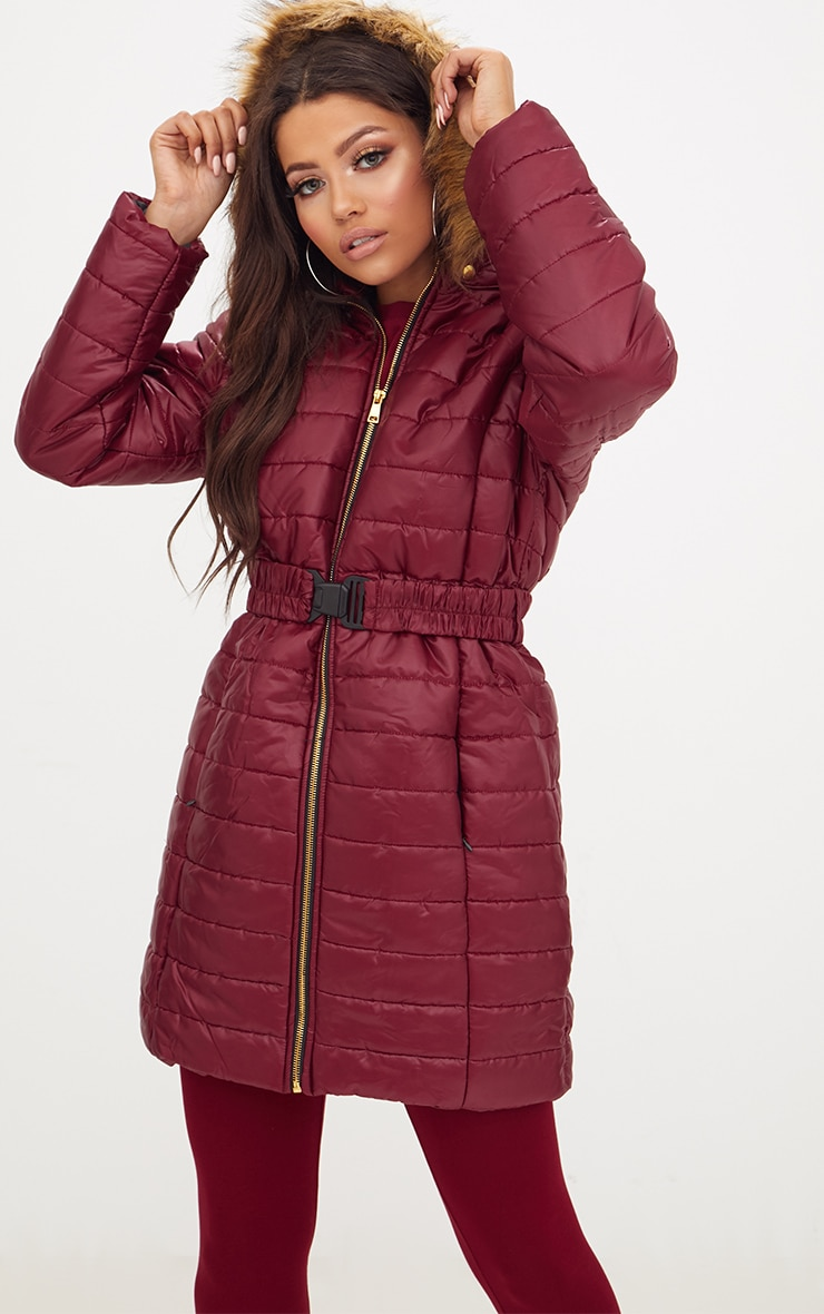 Wine Longline Belted Faux Fur Hooded Puffer Jacket 1