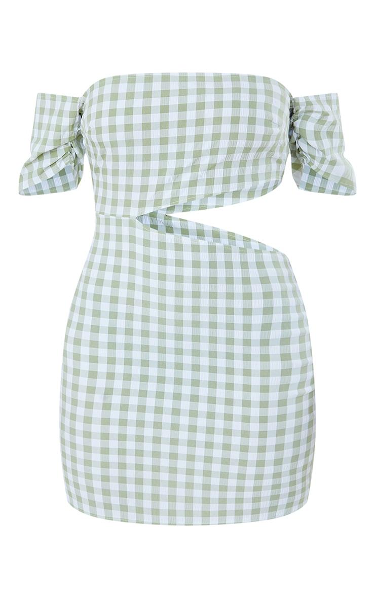 Green Gingham Bardot Cap Sleeve Cut Out Shift Dress 5