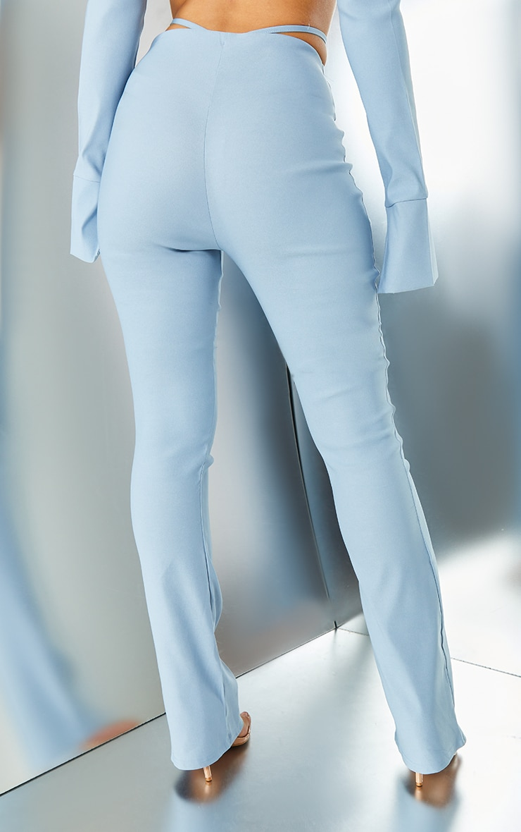 Light Blue Stretch Woven Cut Out Detail Skinny Flared Trousers 3