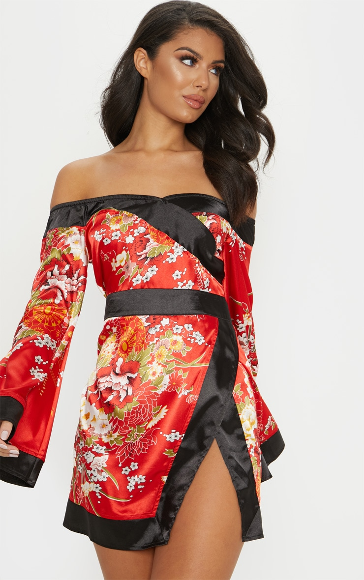 Red Bardot Oriental Flare Sleeve Bodycon Dress