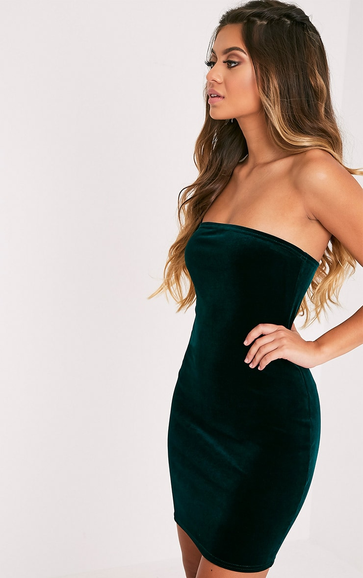 Shany Emerald Green Velvet Bandeau Bodycon Dress  4